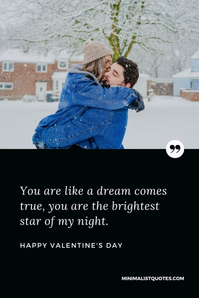 Valentine's Day Wish & Message with HD Image: You are like a dream cometrue, you are the brightest star of my night. Happy Valentine's Day!