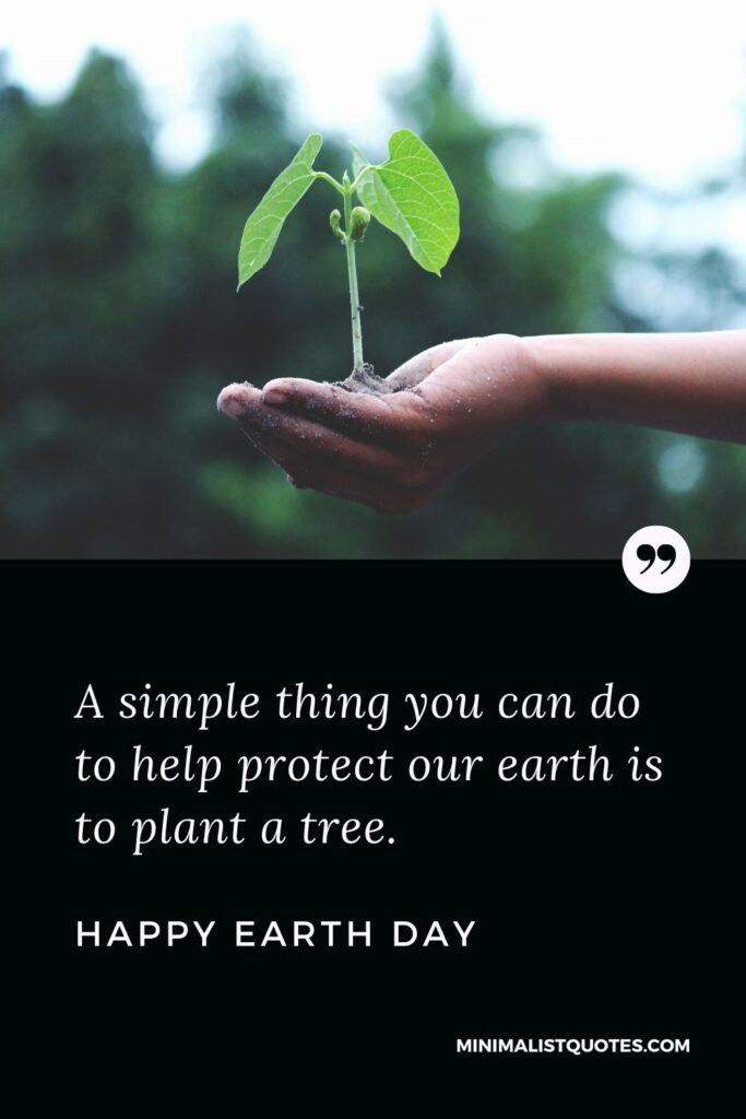Earth Day wish, quote & message with image: A simple thing you can do to help protect our earth is to plant a tree. Happy Earth Day!