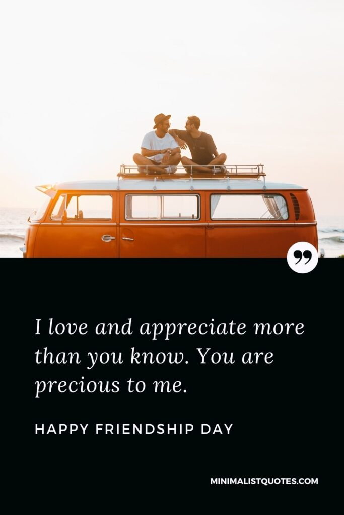 Friendship day wish, quote & message with image: I love and appreciate more than you know. You are precious to me. Happy Friendship Day!