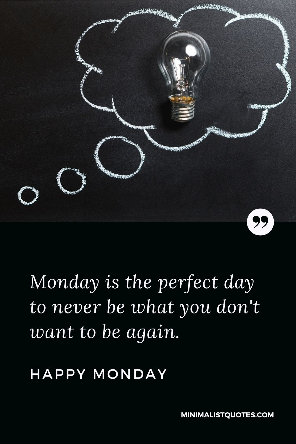 Monday Motivation quote & message with image: Monday is the perfect day to never be what you don't want to be again. Happy Monday!
