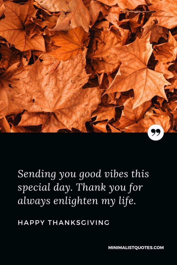 Thanksgiving wishes, messages & quotes with images: Sending everyone good vibes this special day. Thank you for always enlighten my life. Happy Thanksgiving!