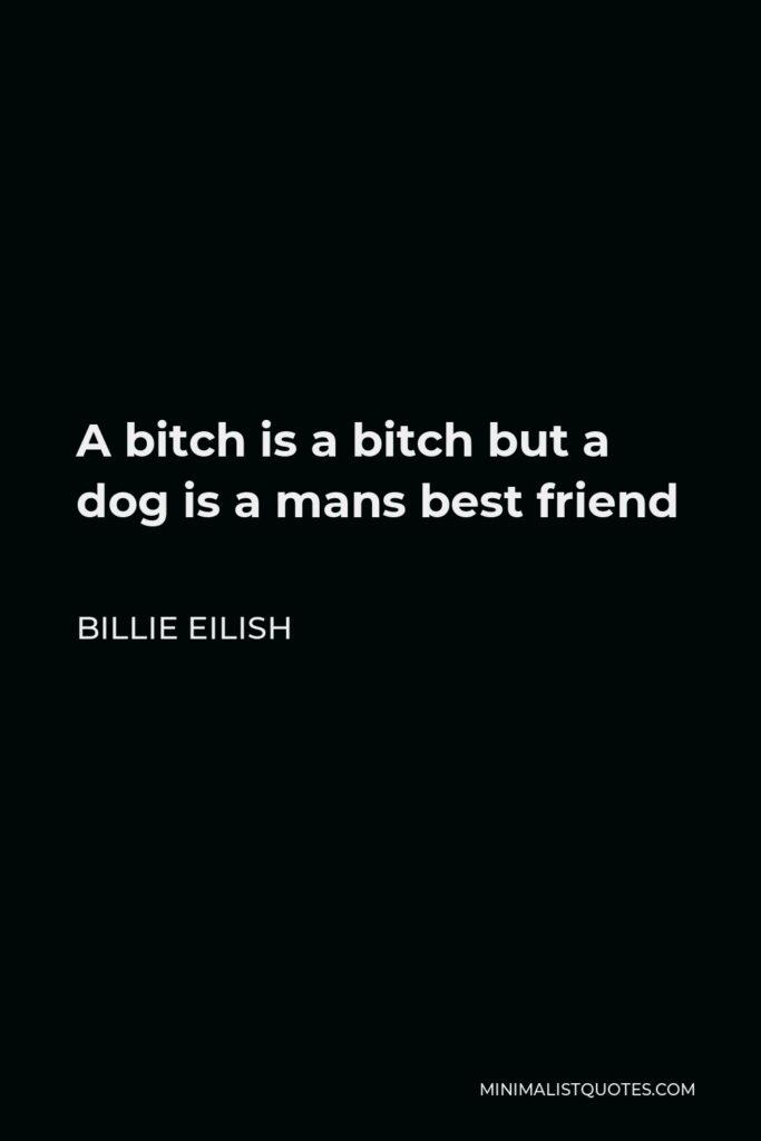Billie Eilish Quote - A bitch is a bitch but a dog is a mans best friend