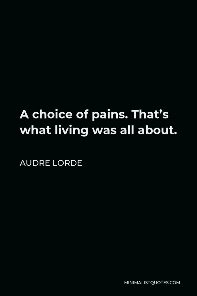 Audre Lorde Quote - A choice of pains. That's what living was all about.