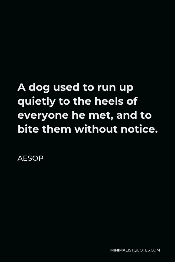 Aesop Quote - A dog used to run up quietly to the heels of everyone he met, and to bite them without notice.