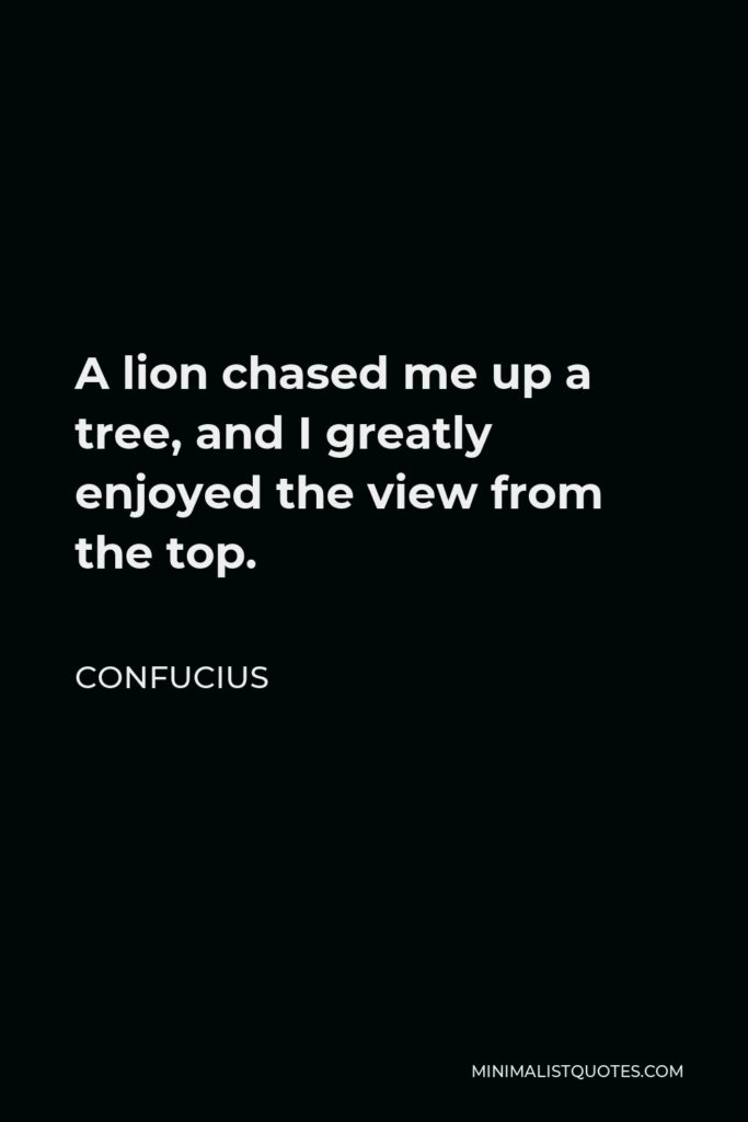 Confucius Quote - A lion chased me up a tree, and I greatly enjoyed the view from the top.