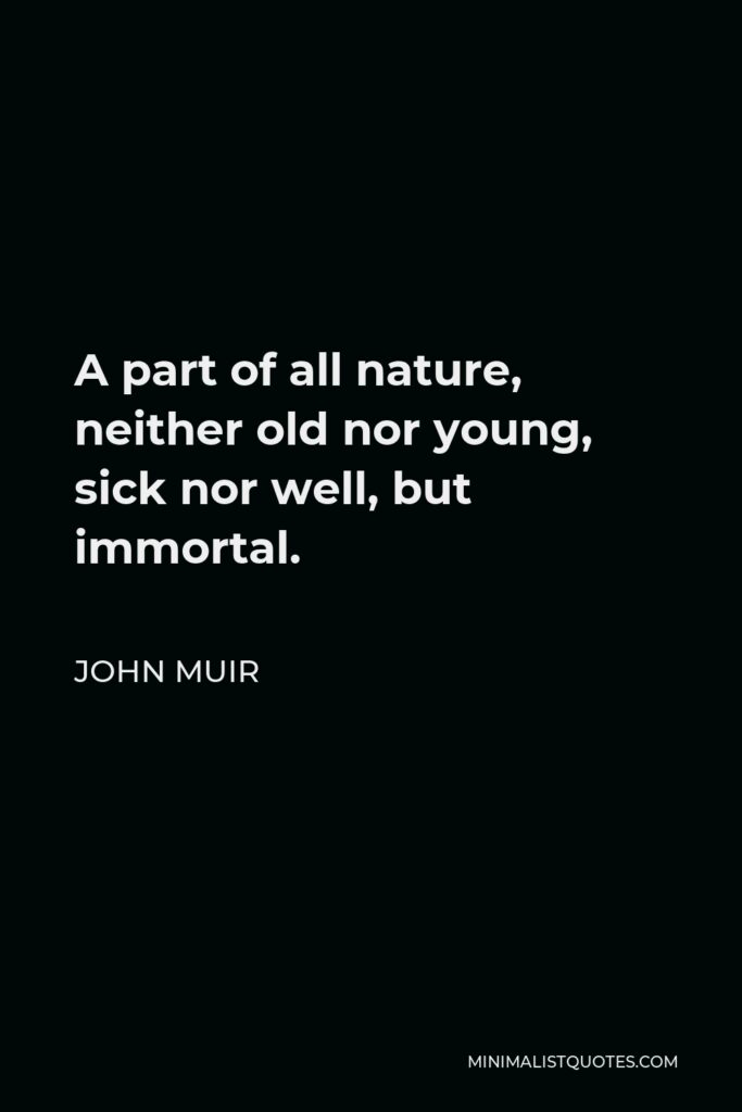 John Muir Quote - A part of all nature, neither old nor young, sick nor well, but immortal.