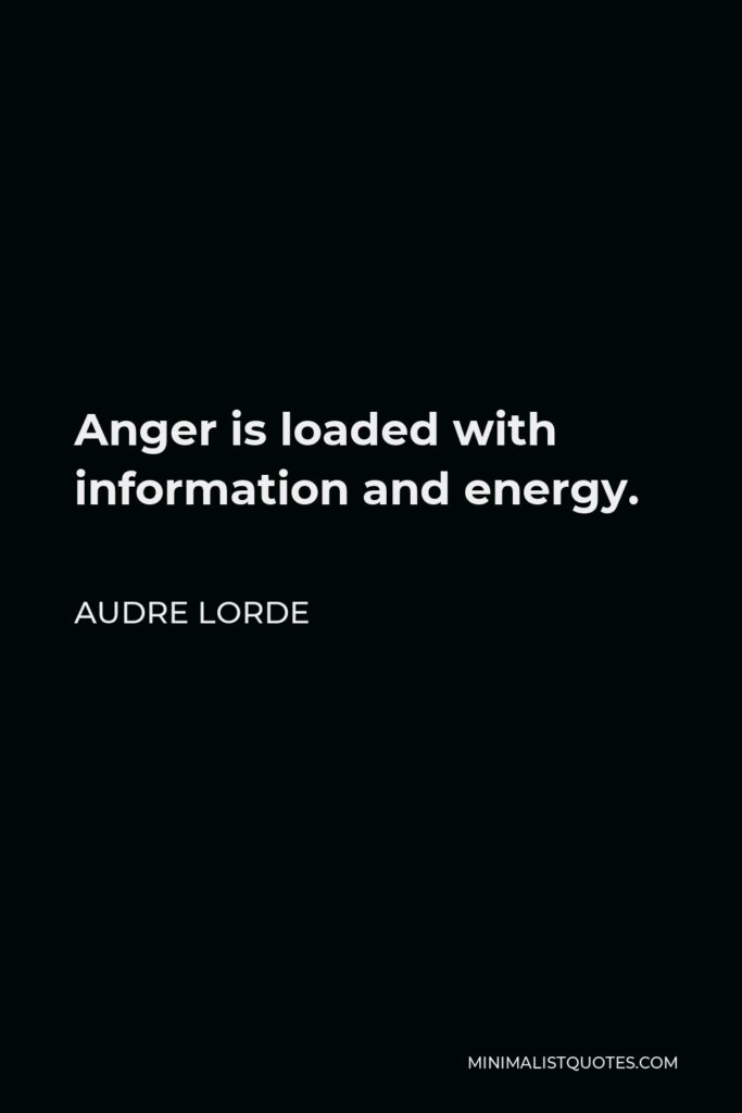 Audre Lorde Quote - Anger is loaded with information and energy.