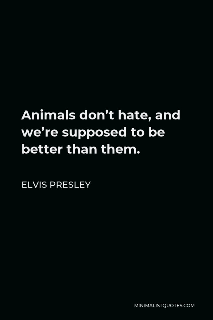 Elvis Presley Quote - Animals don't hate, and we're supposed to be better than them.