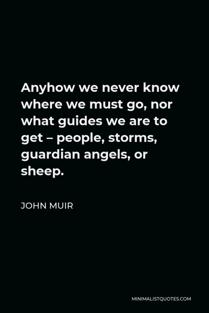 John Muir Quote - Anyhow we never know where we must go, nor what guides we are to get – people, storms, guardian angels, or sheep.