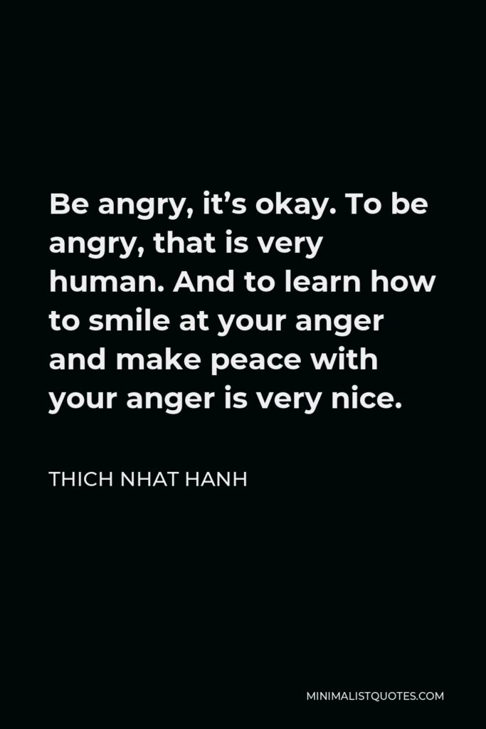 Thich Nhat Hanh Quote - Be angry, it's okay. To be angry, that is very human. And to learn how to smile at your anger and make peace with your anger is very nice.