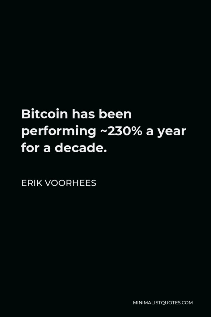 Erik Voorhees Quote - Bitcoin has been performing ~230% a year for a decade.