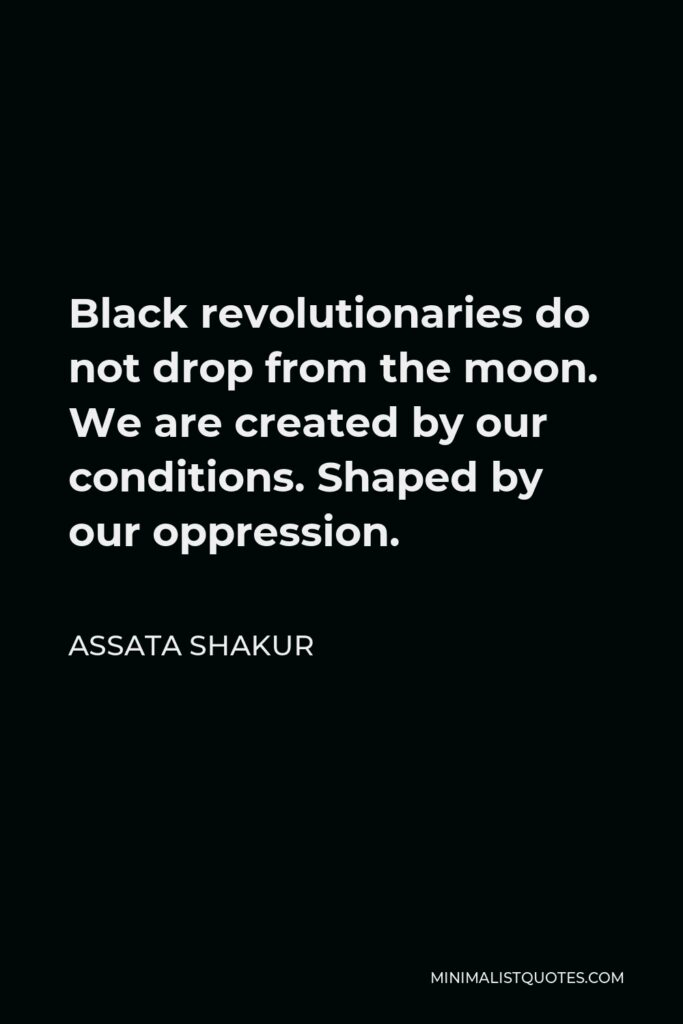 Assata Shakur Quote - Black revolutionaries do not drop from the moon. We are created by our conditions. Shaped by our oppression.