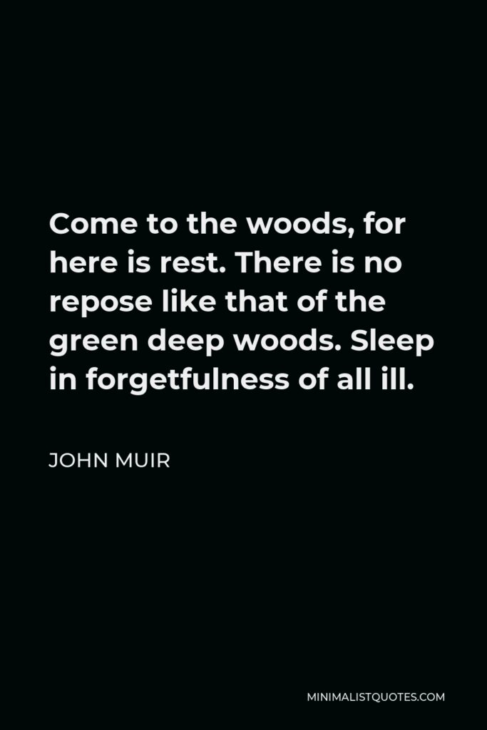 John Muir Quote - Come to the woods, for here is rest. There is no repose like that of the green deep woods. Sleep in forgetfulness of all ill.