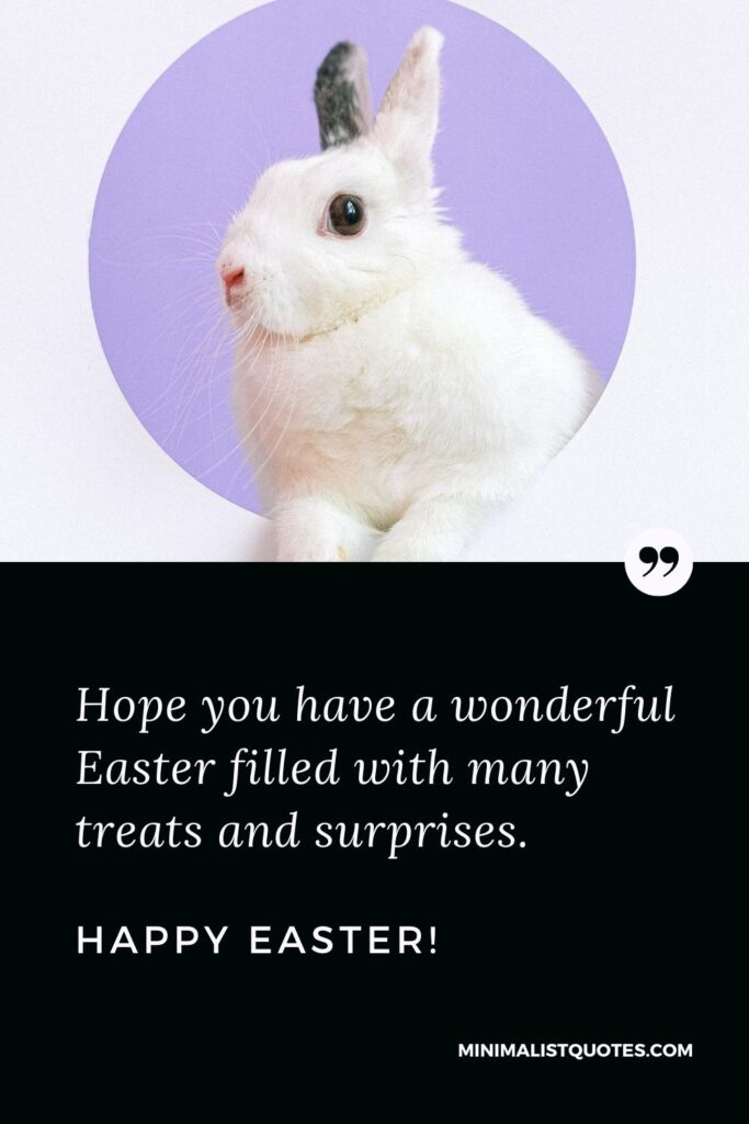 aster Quote, Message & Wish With Image: Hope you have a wonderful Easter filled with many treats and surprises. Happy Easter!