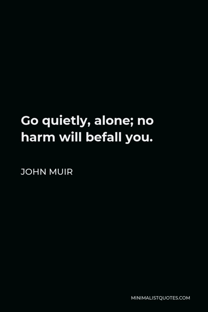 John Muir Quote - Go quietly, alone; no harm will befall you.