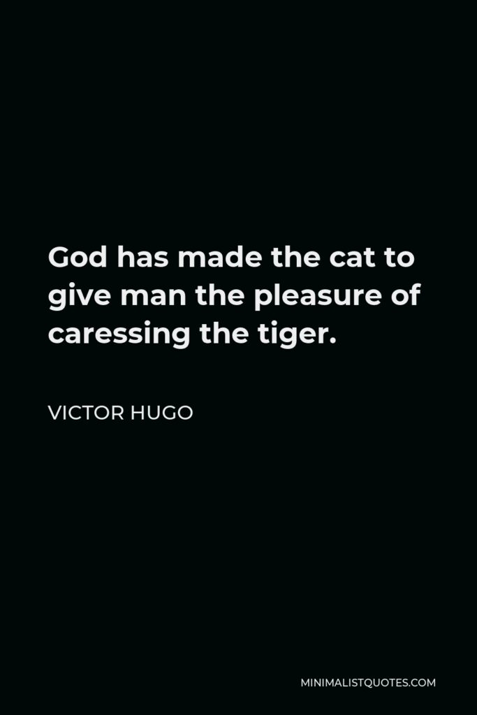Victor Hugo Quote - God has made the cat to give man the pleasure of caressing the tiger.