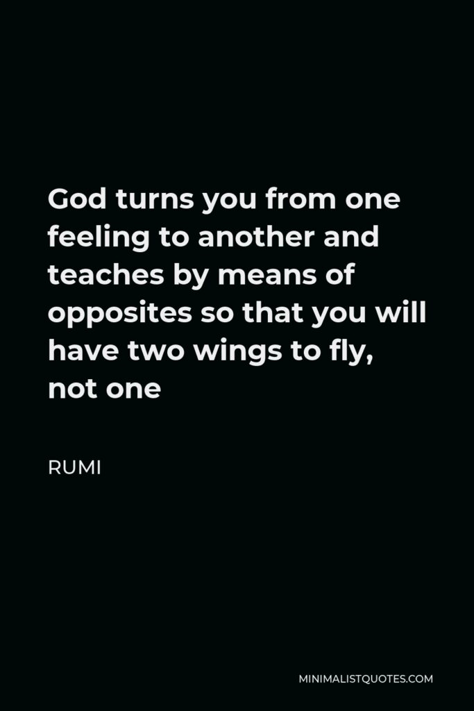 Rumi Quote - God turns you from one feeling to another and teaches by means of opposites so that you will have two wings to fly, not one