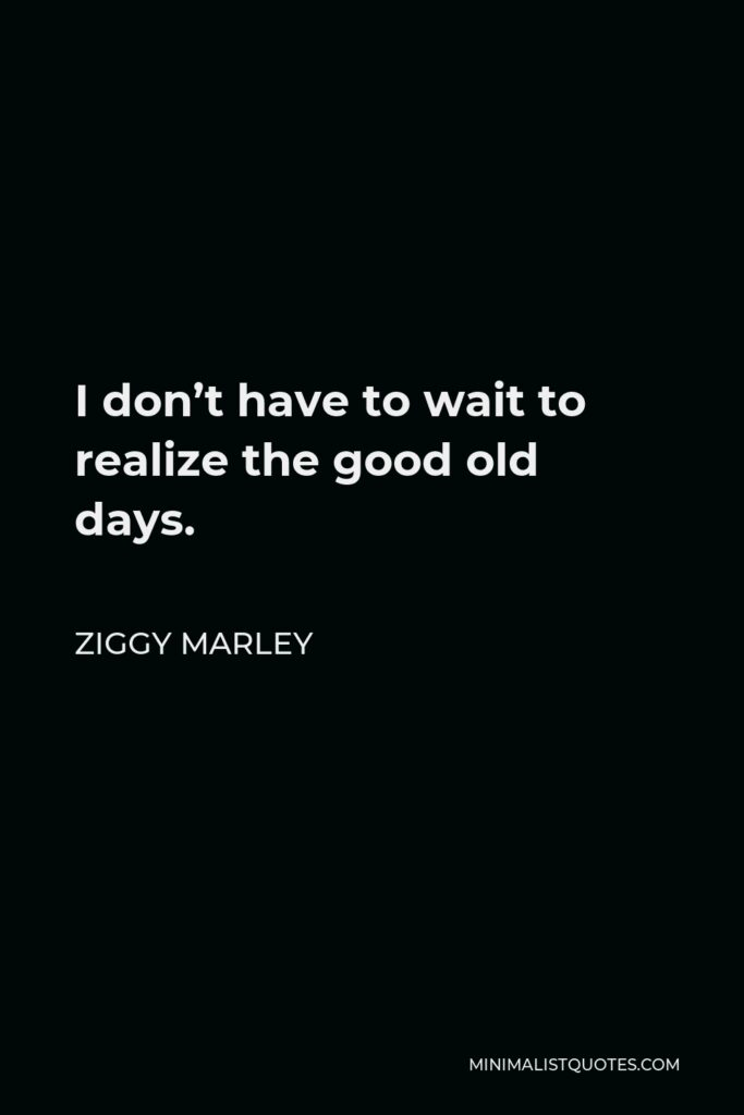Ziggy Marley Quote - I don't have to wait to realize the good old days.