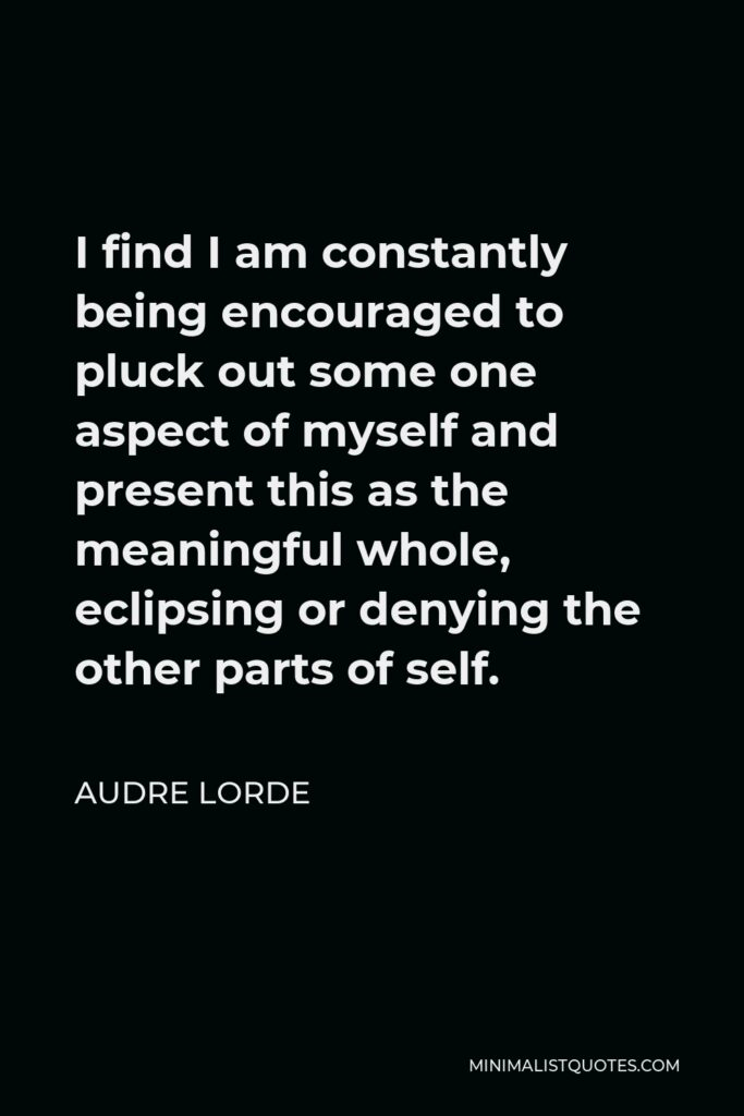 Audre Lorde Quote - I find I am constantly being encouraged to pluck out some one aspect of myself and present this as the meaningful whole, eclipsing or denying the other parts of self.