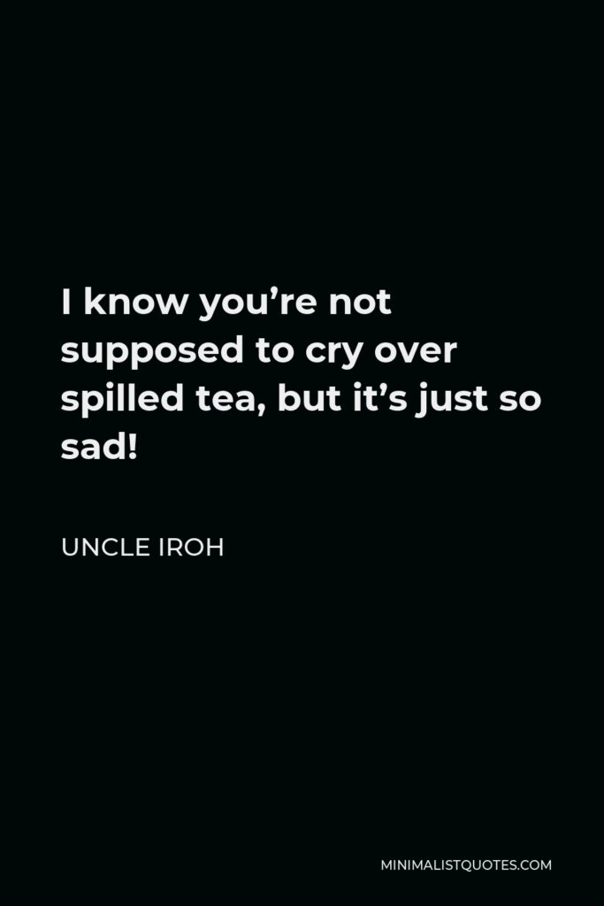 Uncle Iroh Quote - I know you're not supposed to cry over spilled tea, but it's just so sad!