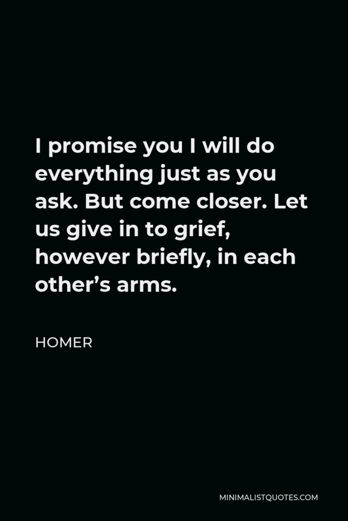 Homer Quote - I promise you I will do everything just as you ask. But come closer. Let us give in to grief, however briefly, in each other's arms.