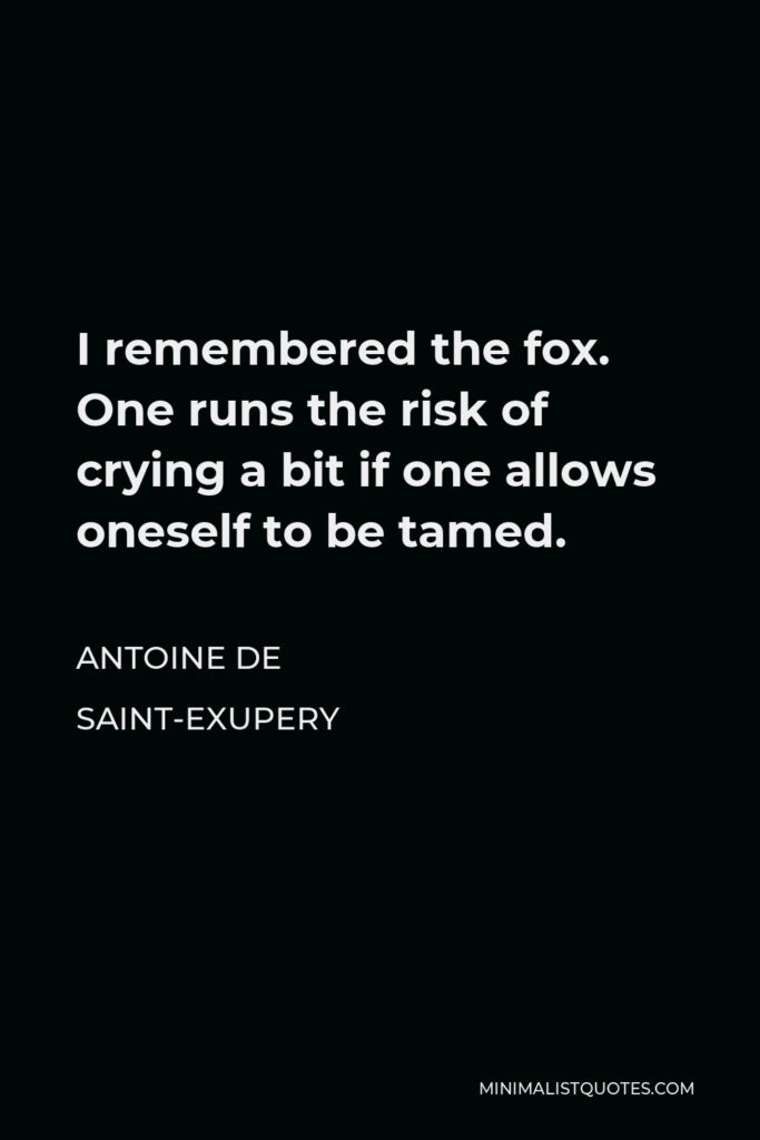 Antoine de Saint-Exupery Quote - I remembered the fox. One runs the risk of crying a bit if one allows oneself to be tamed.