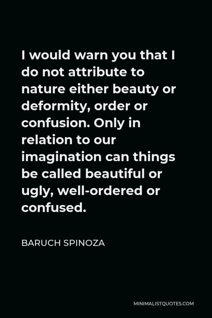 Baruch Spinoza Quote - I would warn you that I do not attribute to nature either beauty or deformity, order or confusion. Only in relation to our imagination can things be called beautiful or ugly, well-ordered or confused.