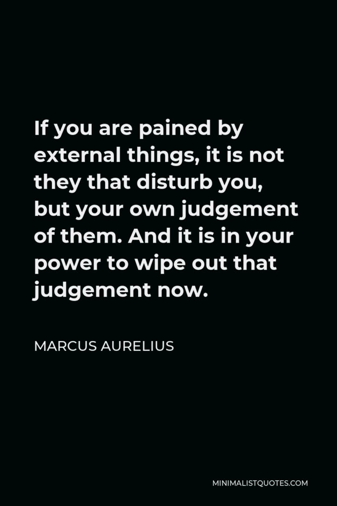 Marcus Aurelius Quote - If you are pained by external things, it is not they that disturb you, but your own judgement of them. And it is in your power to wipe out that judgement now.