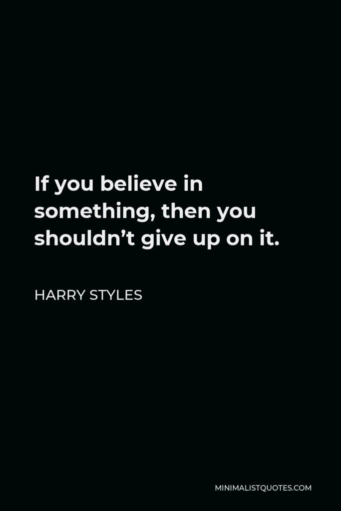 Harry Styles Quote - If you believe in something, then you shouldn't give up on it.
