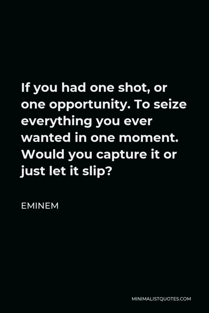 Eminem Quote - If you had one shot, or one opportunity. To seize everything you ever wanted in one moment. Would you capture it or just let it slip?