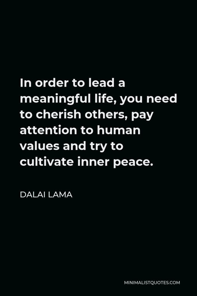 Dalai Lama Quote - In order to lead a meaningful life, you need to cherish others, pay attention to human values and try to cultivate inner peace.