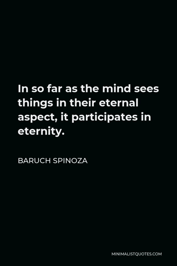 Baruch Spinoza Quote - In so far as the mind sees things in their eternal aspect, it participates in eternity.