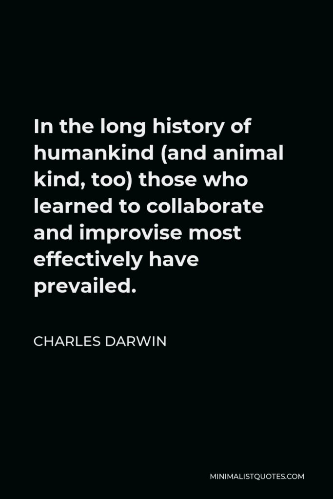 Charles Darwin Quote - In the long history of humankind (and animal kind, too) those who learned to collaborate and improvise most effectively have prevailed.