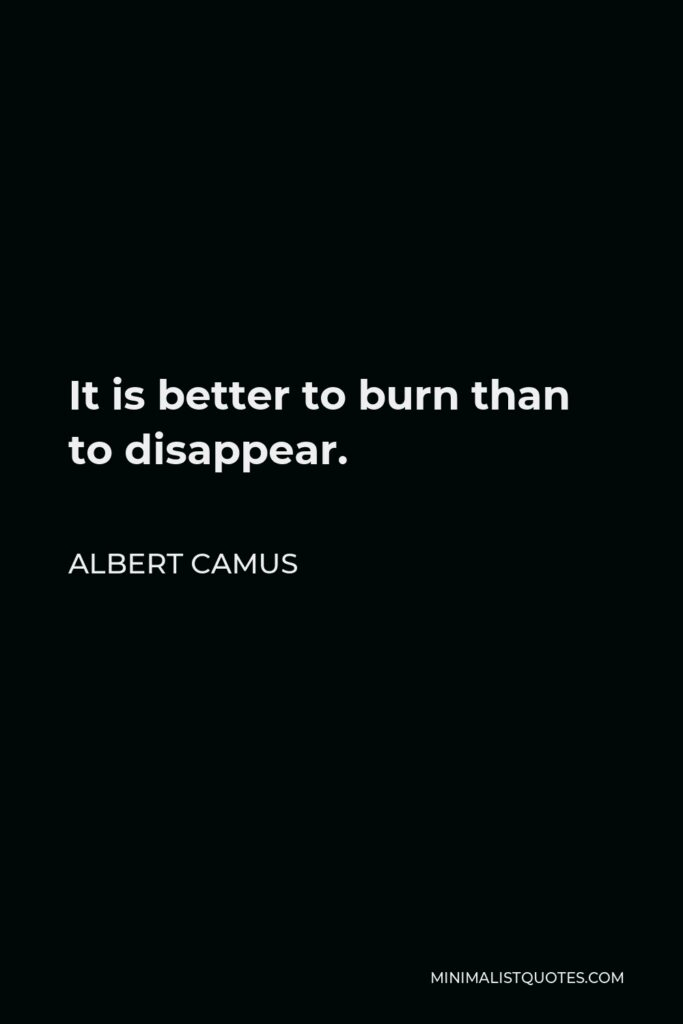 Albert Camus Quote - It is better to burn than to disappear.