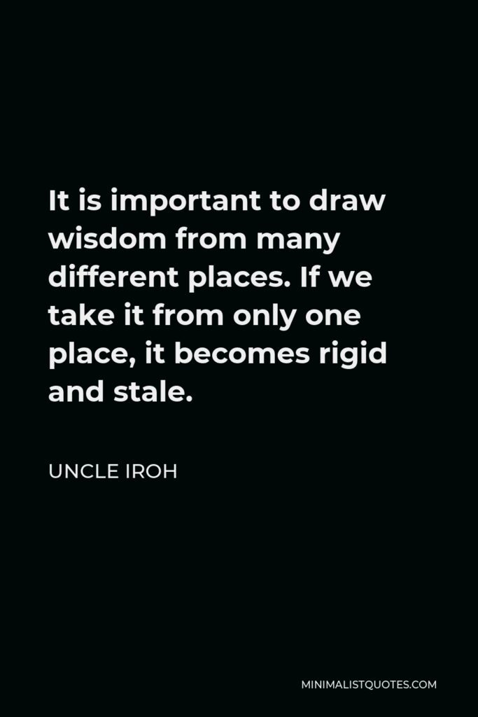 Uncle Iroh Quote - It is important to draw wisdom from many different places. If we take it from only one place, it becomes rigid and stale.