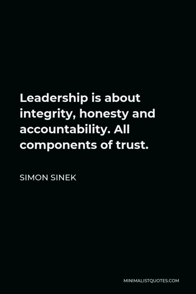 Simon Sinek Quote - Leadership is about integrity, honesty and accountability. All components of trust.