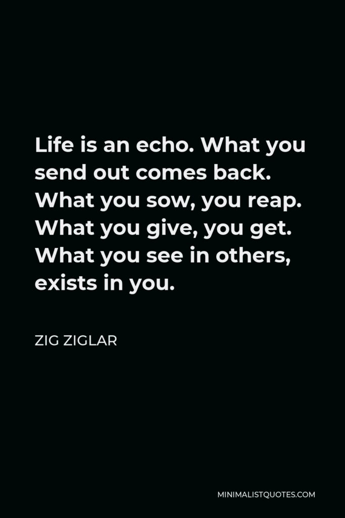 Zig Ziglar Quote - Life is an echo. What you send out comes back. What you sow, you reap. What you give, you get. What you see in others, exists in you.