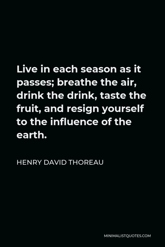 Henry David Thoreau Quote - Live in each season as it passes; breathe the air, drink the drink, taste the fruit, and resign yourself to the influence of the earth.