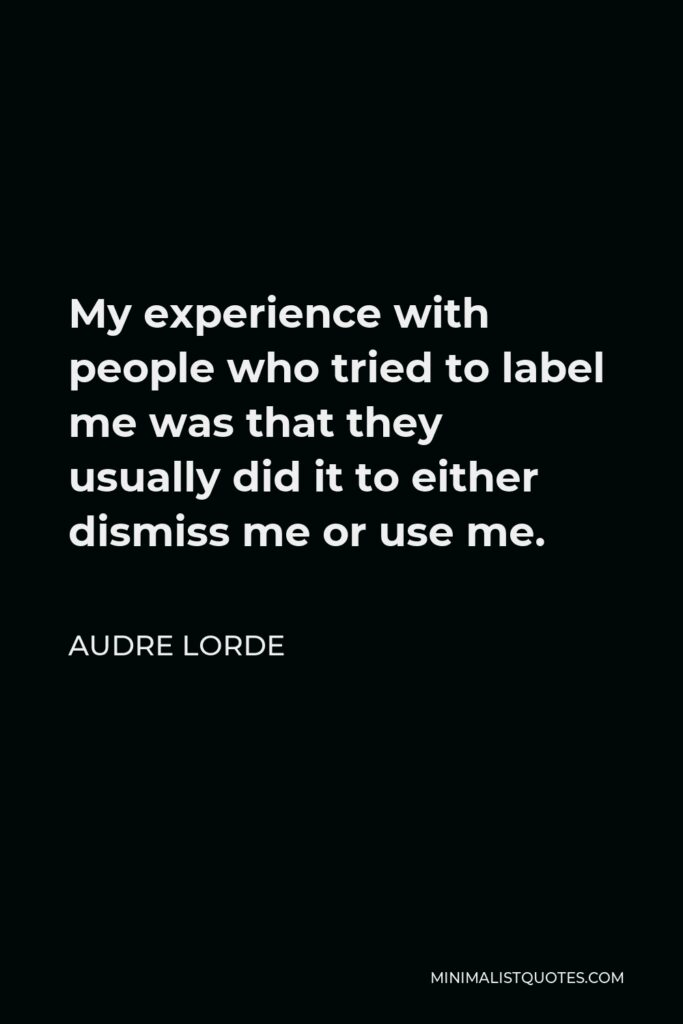 Audre Lorde Quote - My experience with people who tried to label me was that they usually did it to either dismiss me or use me.