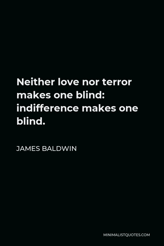 James Baldwin Quote - Neither love nor terror makes one blind: indifference makes one blind.