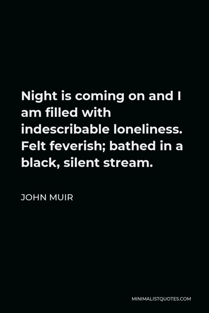 John Muir Quote - Night is coming on and I am filled with indescribable loneliness. Felt feverish; bathed in a black, silent stream.