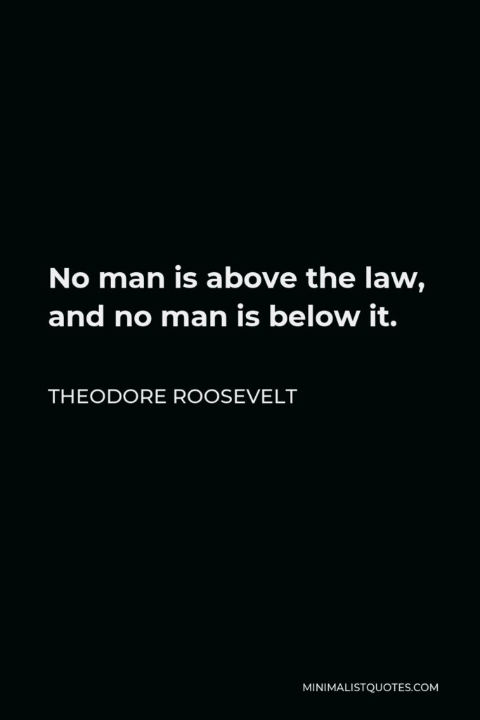 Theodore Roosevelt Quote - No man is above the law, and no man is below it.