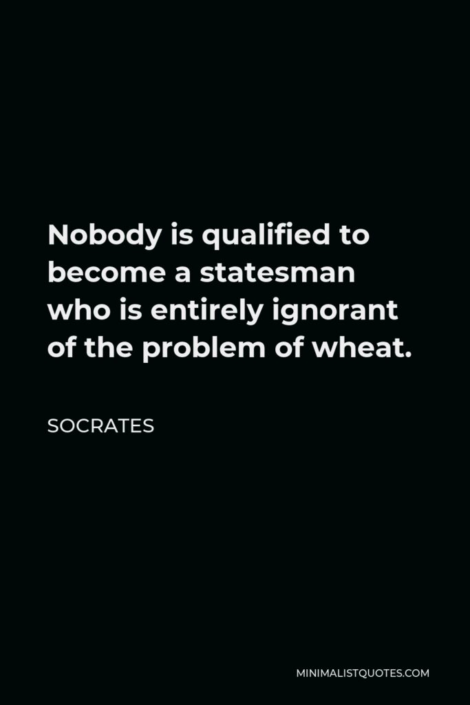 Socrates Quote - Nobody is qualified to become a statesman who is entirely ignorant of the problem of wheat.