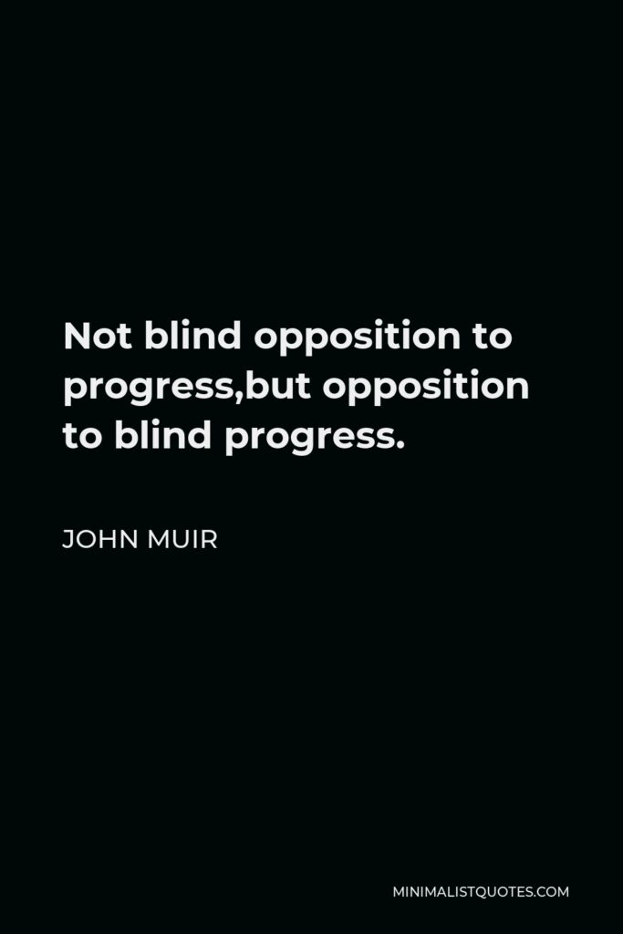 John Muir Quote - Not blind opposition to progress,but opposition to blind progress.