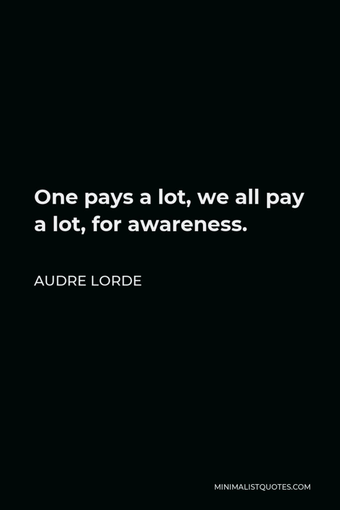 Audre Lorde Quote - One pays a lot, we all pay a lot, for awareness.