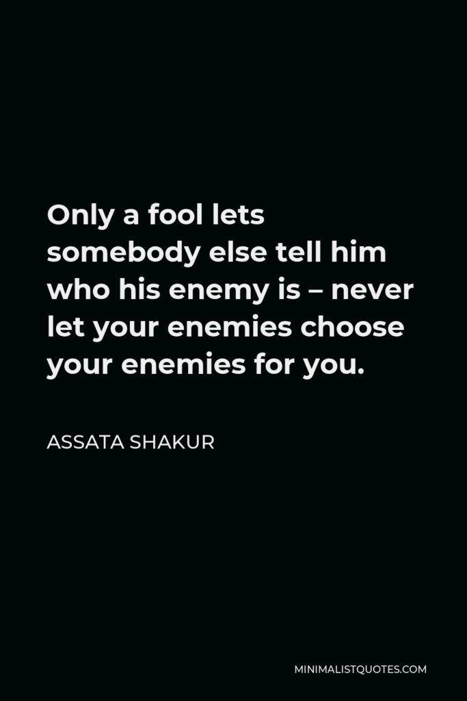 Assata Shakur Quote - Only a fool lets somebody else tell him who his enemy is – never let your enemies choose your enemies for you.
