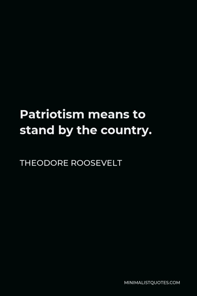 Theodore Roosevelt Quote - Patriotism means to stand by the country.