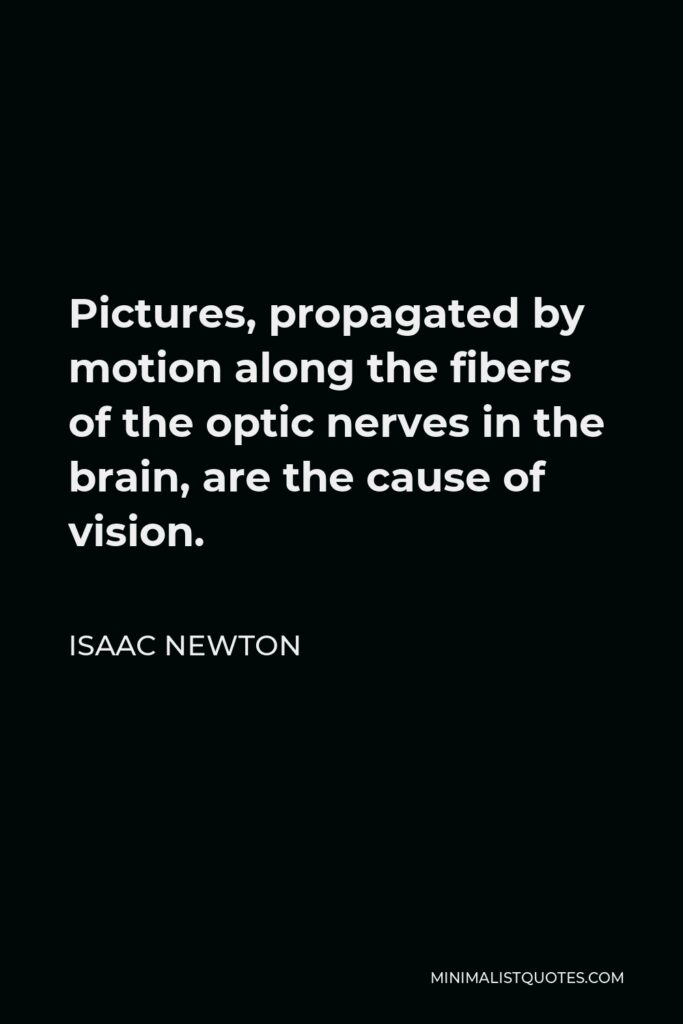Isaac Newton Quote - Pictures, propagated by motion along the fibers of the optic nerves in the brain, are the cause of vision.