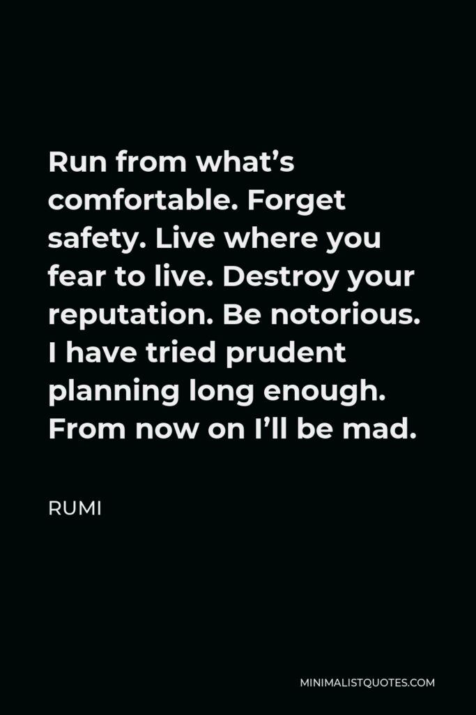 Rumi Quote - Run from what's comfortable. Forget safety. Live where you fear to live. Destroy your reputation. Be notorious. I have tried prudent planning long enough. From now on I'll be mad.