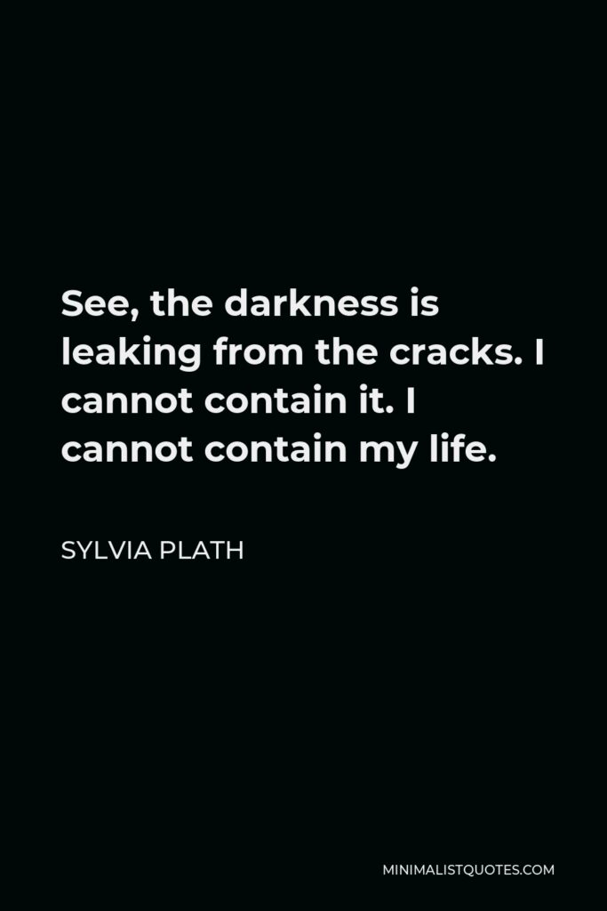 Sylvia Plath Quote - See, the darkness is leaking from the cracks. I cannot contain it. I cannot contain my life.